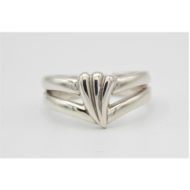 Bred sølv ring, mønster