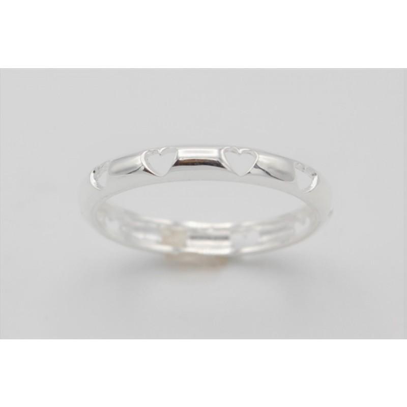Simpel sølv ring m. hjerter