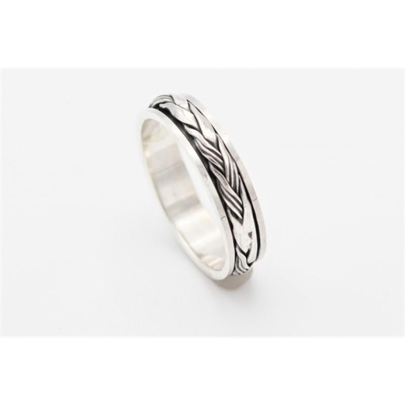 Bevægelig ring med oxyderinger, sølv