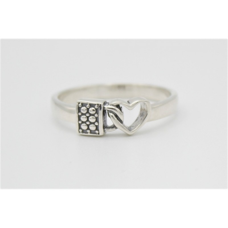 Hjerte og lås sølv ring