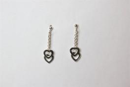 Sølv ørehængere med 2 hjerter-20