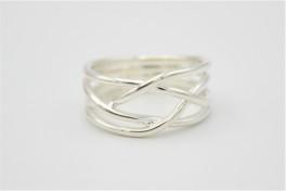 Lines, sølv ring bred-20