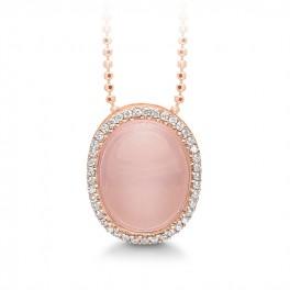 Rosa forgyldt halskæde med syn. zirk. og rosakvarts, Aagaard-20