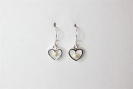 Ørehængere med hjerte i sølv, samt perle-20