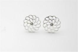Blomst og zirkonia sølv ørestikker-20