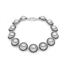 Aagaard sølv armlænke med retro halvkugler-20