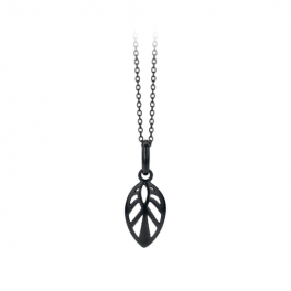 Leaf Necklace 50 cm sort rhodineret-20