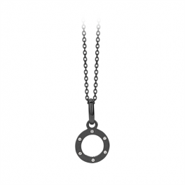 Wheel Necklace 45 cm sort rhodineret-20