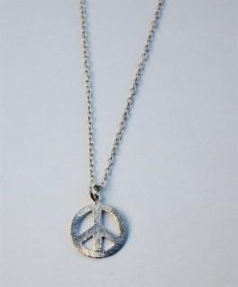 sølv halskæde med peace tegn i lille-20