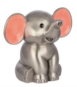 Sparebøsse, Elefant m. lyserøde ører fortinnet-20