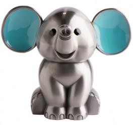 Sparebøsse, Elefant m. lyseblå ører fortinnet-20