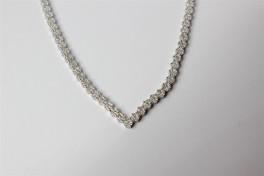 Sølv halskæde med zirkonia blomster-20