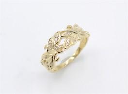 Leaf 8 kt ring, zirkoner-20