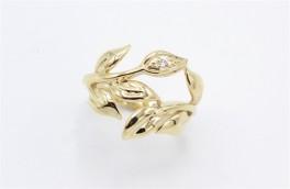 Leaf 8 kt rødguld ring, zirkonia-20