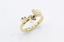 Flower 8 kt ring, tre blomster-20