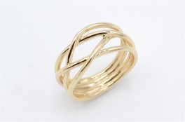 Lines 14 kt ring, bred-20