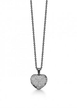 Smuk sort rhodineret halskæde med hjerte, Aagaard-20