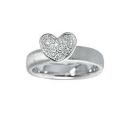 Rhodineret sølvring med hjerte-20