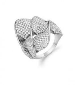 AAGAARD bred sølv ring med synt. zirk.-20