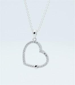 Hearts halskæde, zirk., sølv-20