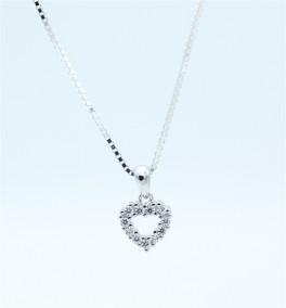 Hearts halskæde, zirkoner, sølv-20