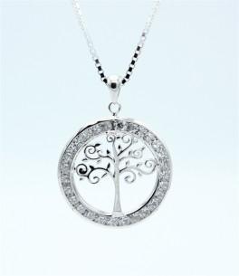 Tree of Life halskæde, zirk., sølv-20