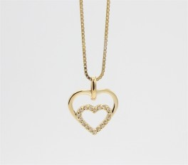 Hearts 8 kt halskæde, dobbelt m. zirk.-20