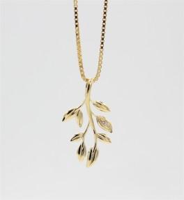 Leaf 8 kt halskæde-20