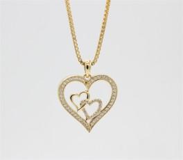 Hearts 8 kt halskæde, tre hjerter-20