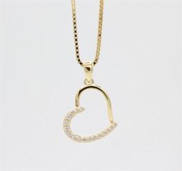 Hearts 8 kt halskæde, zirkoner-20