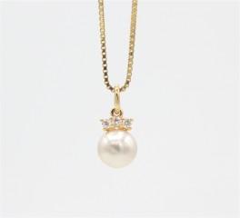 Pearl 14 kt halskæde, brillanter.-20
