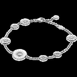 DAISY armbånd med små sølv blomster og en hvid-20