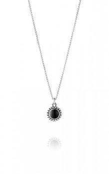MOONLIGHT BLOSSOM halskæde med rund sort onyx-20
