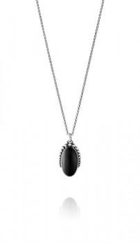 MOONLIGHT BLOSSOM halskæde med oval sort onyx-20