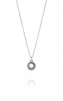MOONLIGHT BLOSSOM halskæde med rund sølvsten-20