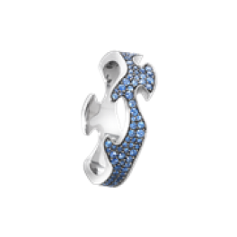 FUSION ring midterstykke hvidguld med blå safirer-20