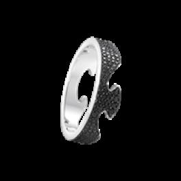FUSION ring endestykke hvidguld med sorte diamanter-20