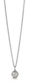 Sølv halskæde med rund howlit-20