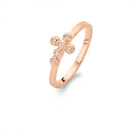 Cross ring rosa forgyldt-20