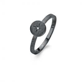 North Star Diamond ring sort rhodineret-20