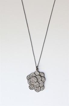 Sort rhodineret halskæde med cirkler og zirkoner-20