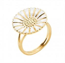 Marguerit ring, forgyldt m. hvid-20