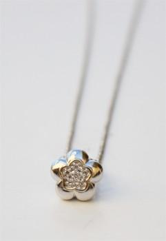 KRANZ and ZIEGLER hvid gulds halskæde med blomst og brillanter-20