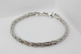 Flettet sølv armbånd-20