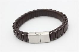 Brunt læder armbånd-20