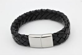 Bredt læder armbånd-20