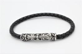 Flettet læder armbånd, viking-20