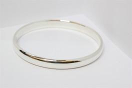 Bred sølv armring med halvrund tråd-20
