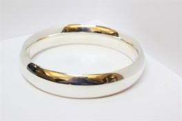 Bred sølv armring med rundet tråd-20