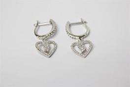 Sølv ørehængere/creoler med hjerte-20